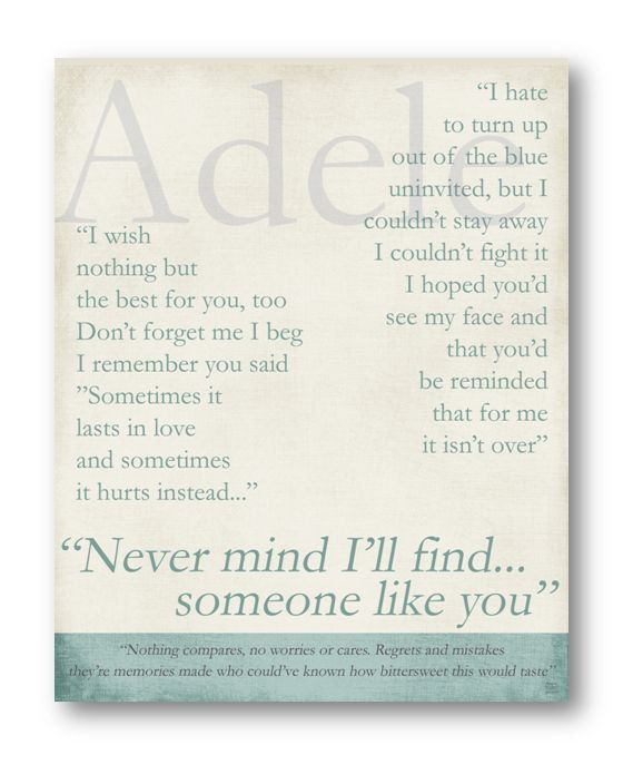 Someone Like You / Adele / Lyric / 8x10 by ataglancegraphics, $10.00