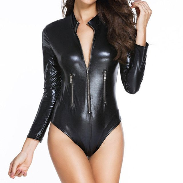 High quality design women Solid PU Leather Bodysuit Long Sleeve Zip Detail Jumpsuits cool Playsuit for lady gifts