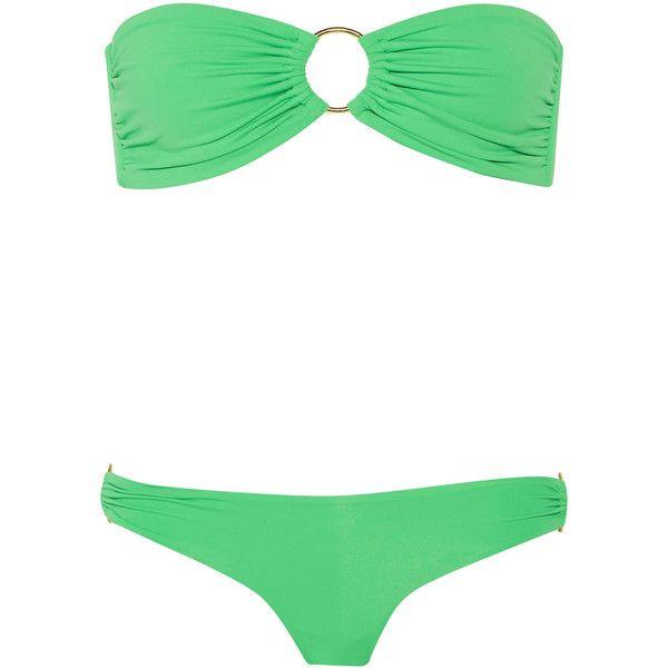 Melissa Odabash Evita bandeau bikini ($104) ❤ liked on Polyvore featuring swimwear, bikinis, bikini, swimsuits, bikinit, bathing suits, green, swimsuits two piece, bandeau swimsuit and bandeau halter bikini