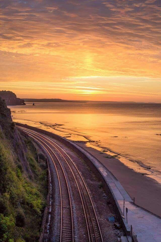 Railway sea wall in Teignmouth, Devon