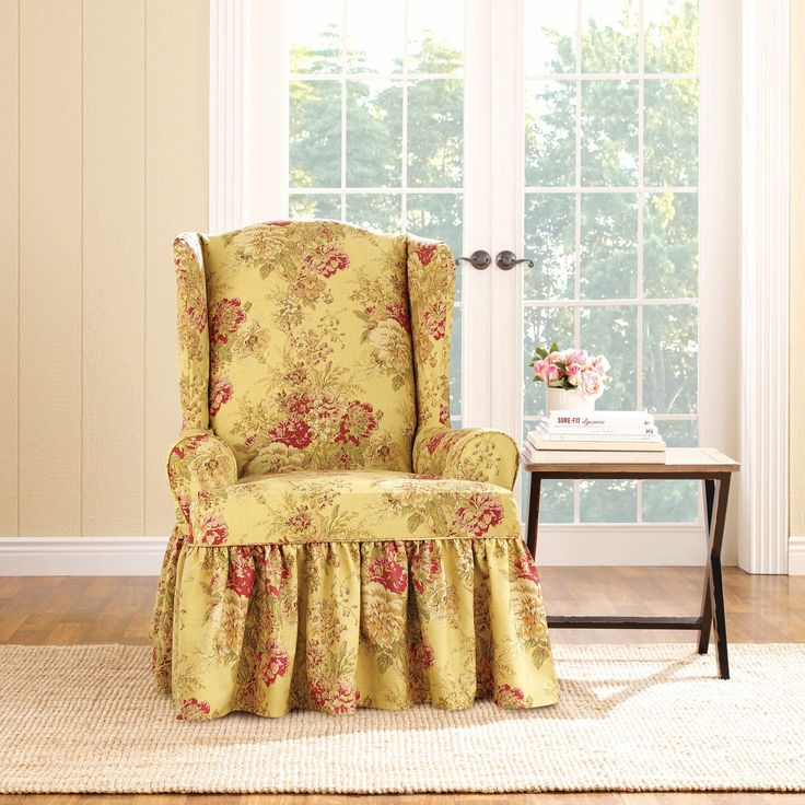 Sure Fit Ballad Bouquet Wing Chair Slipcover in