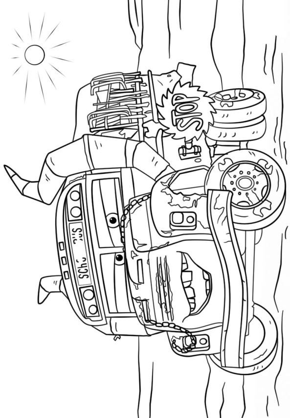 coloring page cars 3  miss fritter