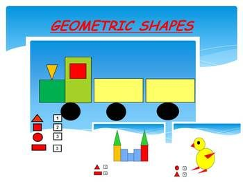 GEOMETRIC  SHAPES-  Naming and CountingThis is a 20-slide PowerPoint presentation.This is a super fun and interactive slide show. This unit is perfect for teaching and reinforcing skills and information about shapes. I've given you 2 slides to look at in the Download Preview  take a look!