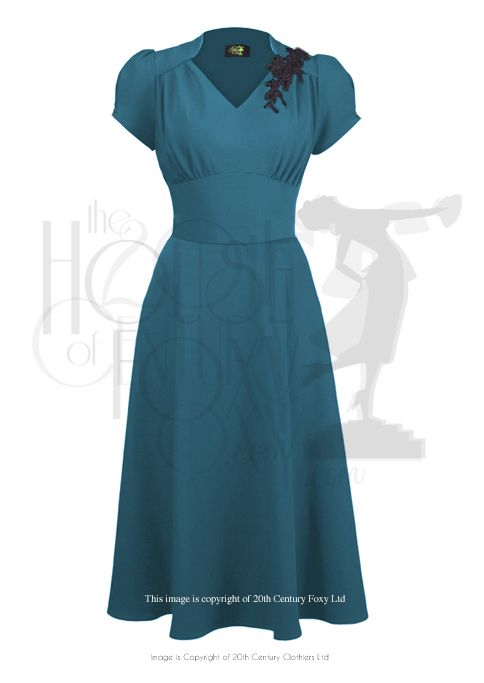 40s Victory Swing Dress Teal