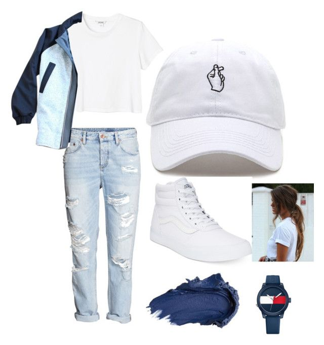 """""""Tommy Watch"""" by madinnmichelle ❤ liked on Polyvore featuring Monki, lululemon, Vans, Tommy Hilfiger and Urban Decay"""