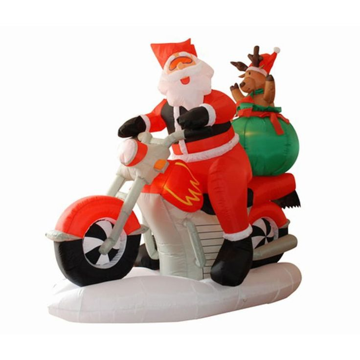 International 6.5' Inflatable Santa Claus on Motorcycle Lighted Christmas Yard Art Decoration