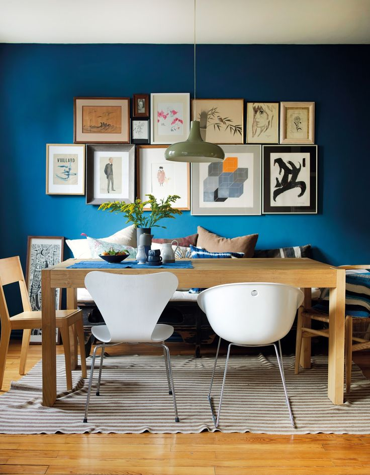 Blue, wood and white chairs
