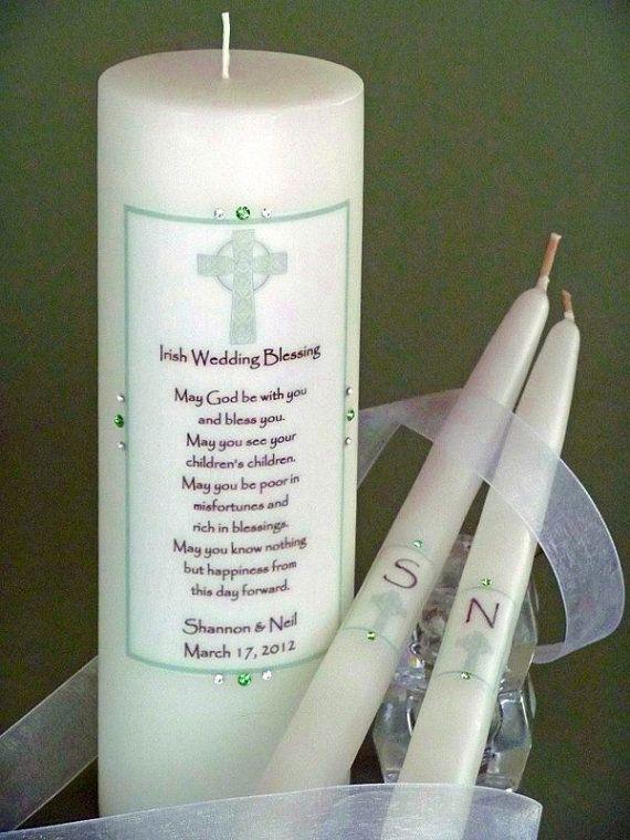 Green Cross Irish Wedding Unity Candles by BridalMemories on Etsy, $66.00