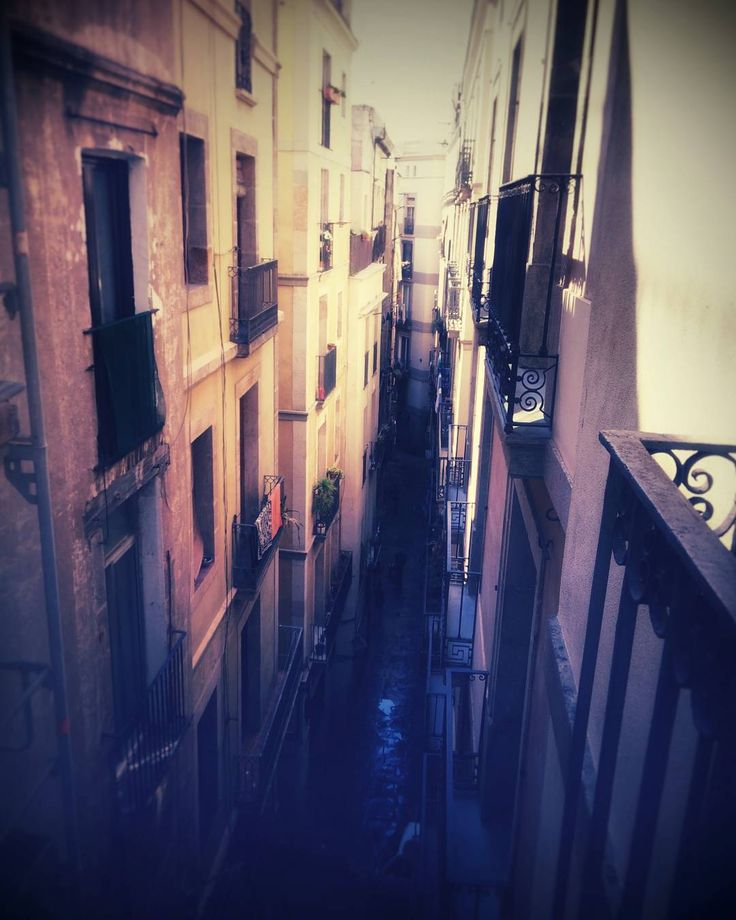 All settled in at our lovely Barcelona Airbnb in the heart of the Gothic Quarter. The house is a third floor walk up with old school floors and two very friendly cats. This is the view from the balcony of the very narrow streets below. Pinch me I'm in Spain! #abroadabroad #minnamoon #barcelona