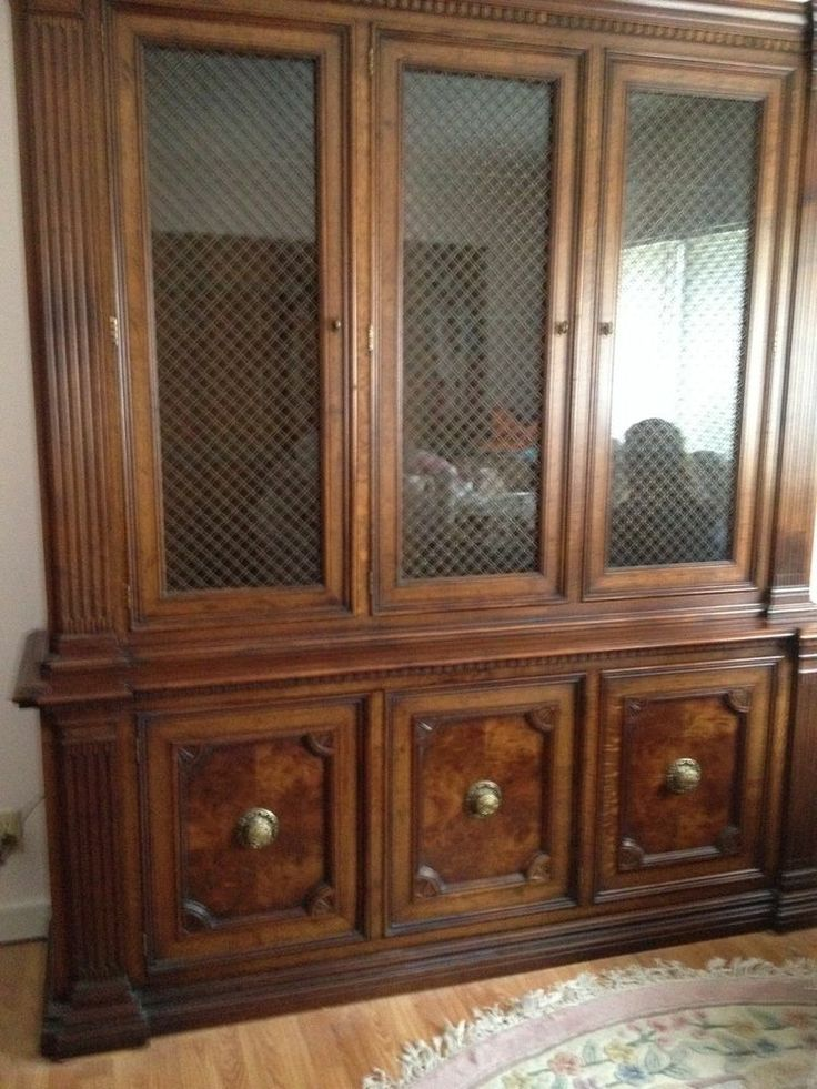 Vintage China Cabinet Removable Hutch Burlwood Walnut Lighted Glass Doors