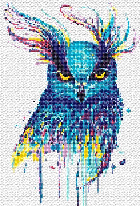 Owl cross stitch pattern Watercolor bird wall decor Counted cross stitch Modern animal cross stitch Nursery Instant download pdf pattern