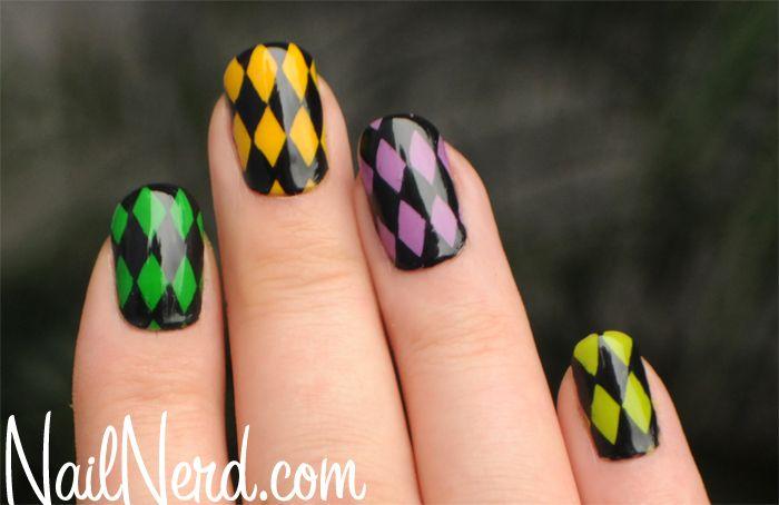 nail art - mardi gras harlequin nails - nails - nailart how to - nail art tutorial #nailart #nails