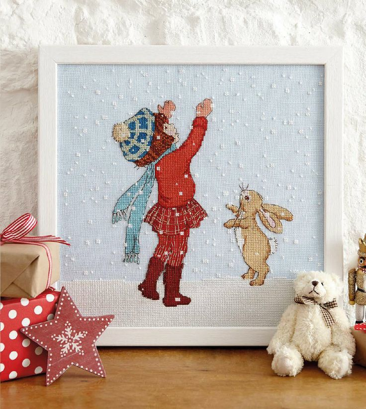 Catching Snow - #CrossStitch - Available in CrossStitcher Magazine 270  Downloable PDF Pattern in: http://belleandboo.com/cross-stitch-patterns/1383--catching-snow-cross-stitch-pattern.html