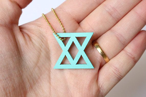 turquoise key chain, laser cutted, geometrical pendant, jewelry for your keys