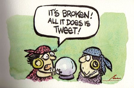 Crystal Ball Predicts Future of Social Media - It's broken! All it does is tweet haha