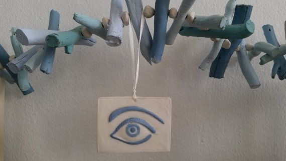 Handmade Greek White Porcelain Evil Eye Hanger by WillyaCollection