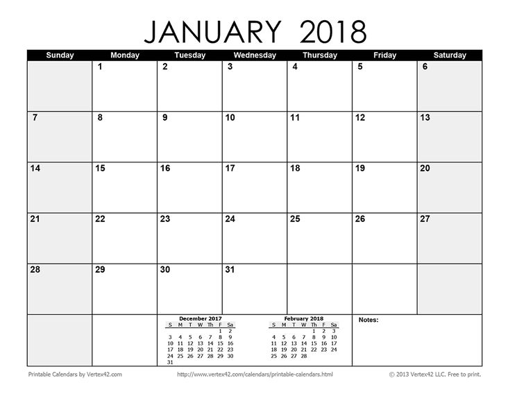Download a free Printable Monthly 2018 Calendar from Vertex42.com