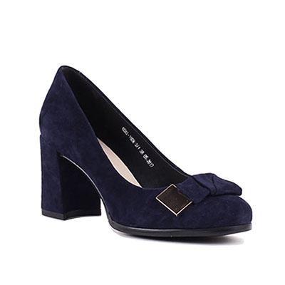 Bacia Sheep suede Pumps Blue 7.5cm Thick & High Heels Genuine Leather Ladies Shoes Round Toe Bowtie Shoes Pump Size 35-41 SB026