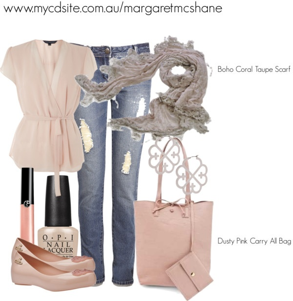 """Boho Coral Taupe Scar & Dusty Pink Carry All Bag"""" by mcshanes on Polyvore"""