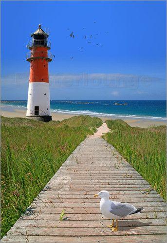 Premium-Poster Der Weg zum Leuchtturm am Meer