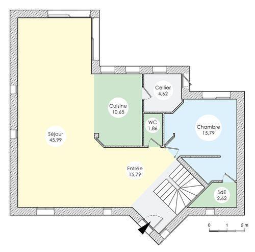Plan  - maison - Architecture étudiée pour maison originale