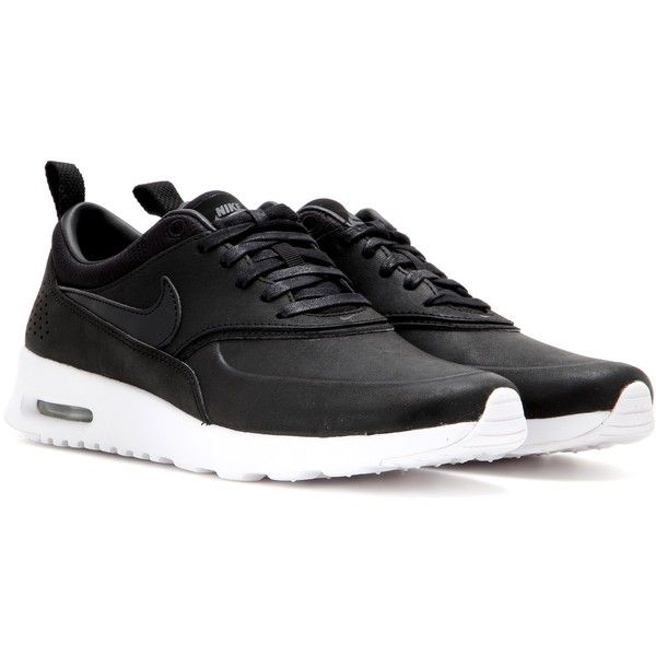 Nike Nike Air Max Thea Jolie Leather Sneakers found on Polyvore featuring shoes, sneakers, nike, black, leather trainers, leather sneakers, nike footwear and nike trainers