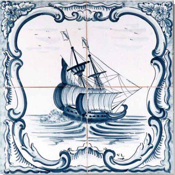 #azulejos #bateau réf: cerb_130_3_3 #mer #carrelage #tile #boat #sea #decoration #bleu #blue