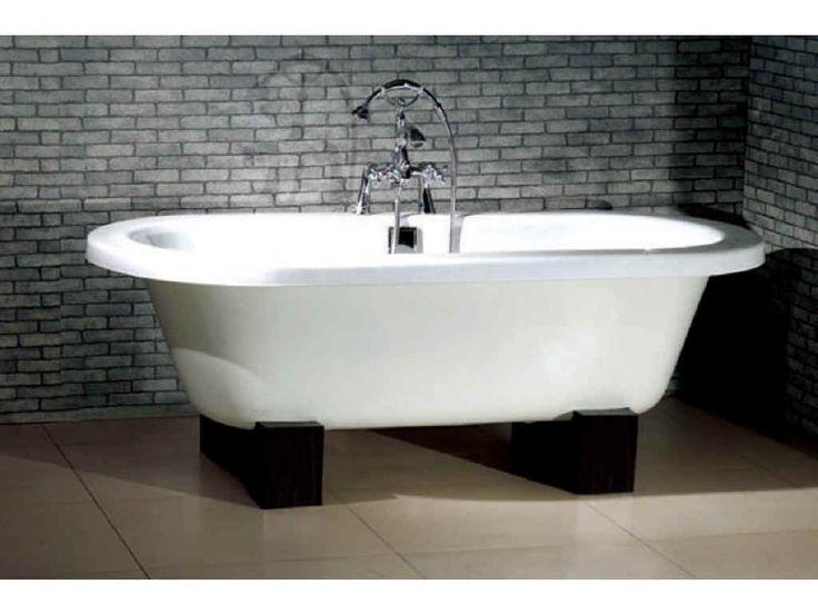 57 inch bathtub with oak wood stand