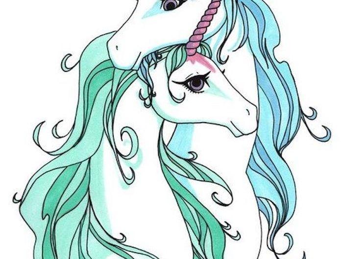 weiße einhörner mit zwei pinken langen hörnern und mit einer langen dichten blauen mähne - einhorn bilder