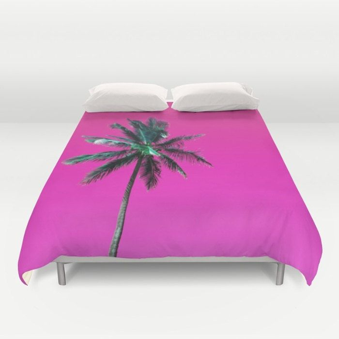 Pink Duvet Cover, Palm Tree Comforter Cover, Full Queen King Duvet, Tropical Duvet Cover, Beach Bed Cover, Coastal Bedding, Palm Tree Duvet by OlaHolaHolaBaby on Etsy