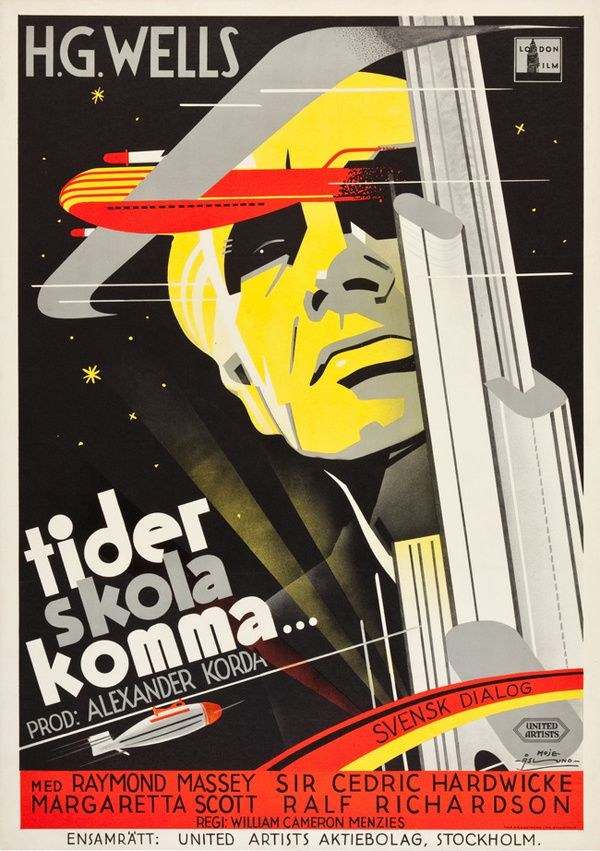 """Russian movie poster for H.G. Wells   """"Things to  Come"""". From the mid 1930's."""