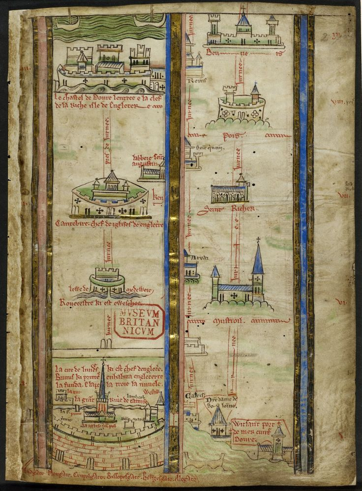Map Of Poitiers%0A This medieval map tells you how to get from London to Beauvais  BL  MS  Royal    C VII  f