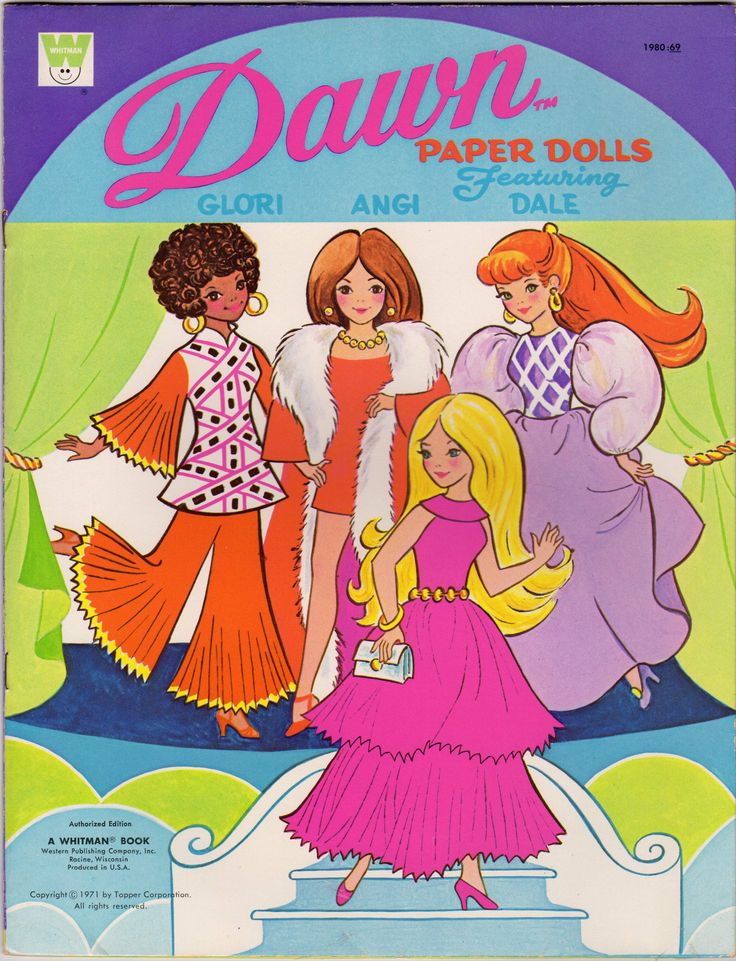 Dawn Paper Dolls Glori Angi Dale Vintage Children's Punch-Out Activity Book