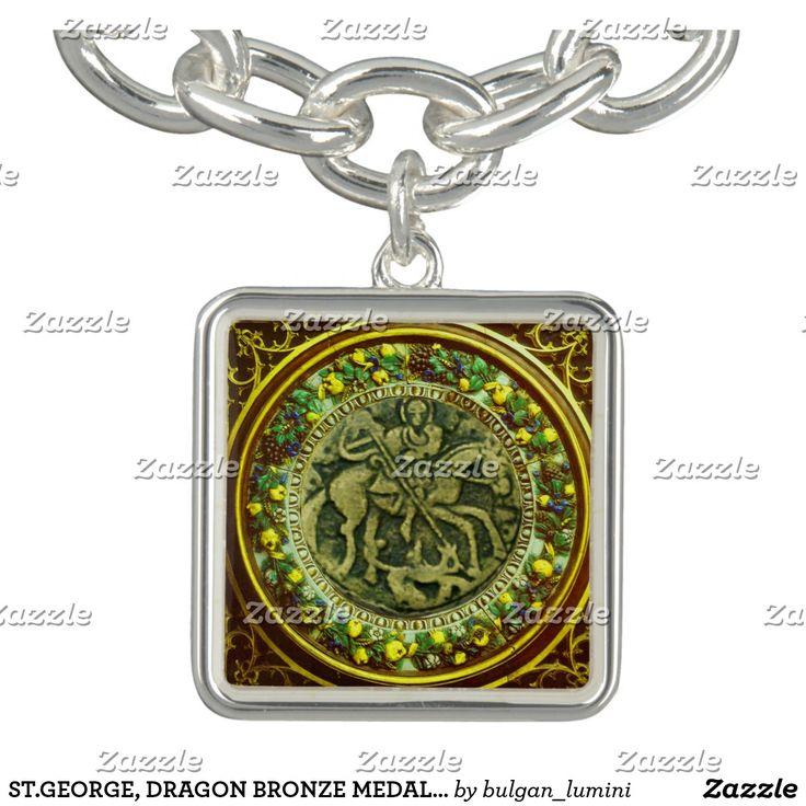 ST.GEORGE, DRAGON BRONZE MEDALLION  FLORAL CROWN CHARM BRACELETS #stgeorge #knight #medieval #antique #jewelry #religious