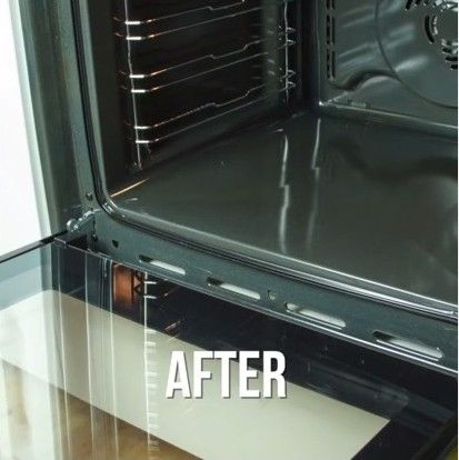 Make baking soda and vinegar until a paste forms. Dab on bottom of oven. Put bowl in oven and bake 200 degrees for 45 minutes. Wipe out oven. Simple.