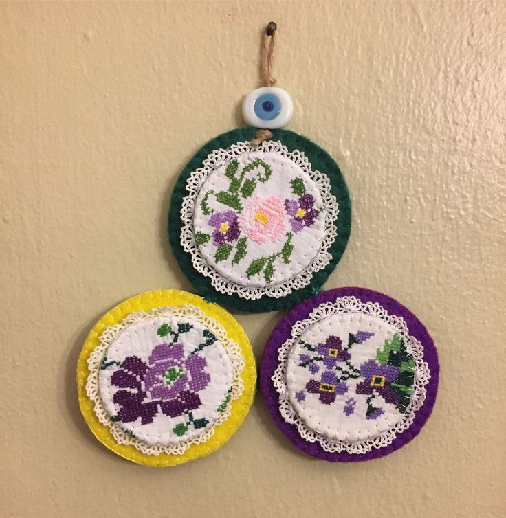 nazarlık, kanaviçe, amulet, felt, feltro, felt amulet, hand made, design turkish eye, cross stitch