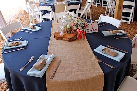Burlap runners over navy tablecloths | Snowflake Wedding ...