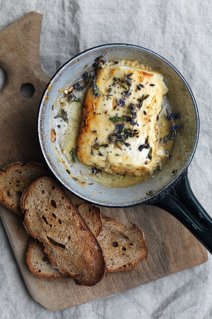 Honey-baked feta with lavender, thyme and rye chips