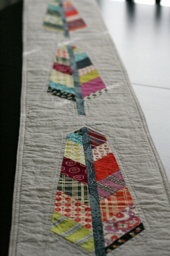 Woodland Quilted Chicopee Feather Table Runner  by QuiltsByEmily