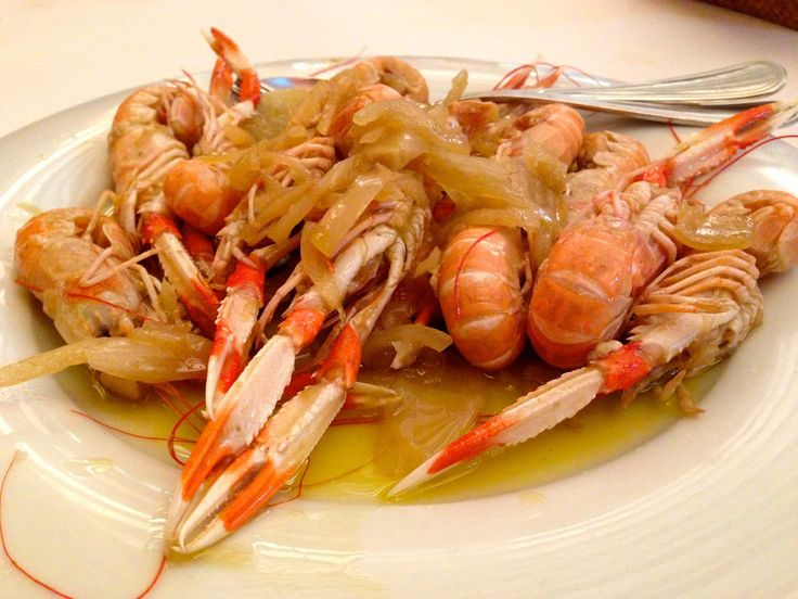 Scampi with Onions — in Barcelona, Catalonia, Spain.