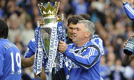 Carlo Ancelotti celebrates winning the Premier League with Chelsea in May 2010-Bimabet888.com