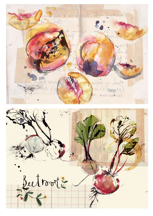 Watercolour of fruit.