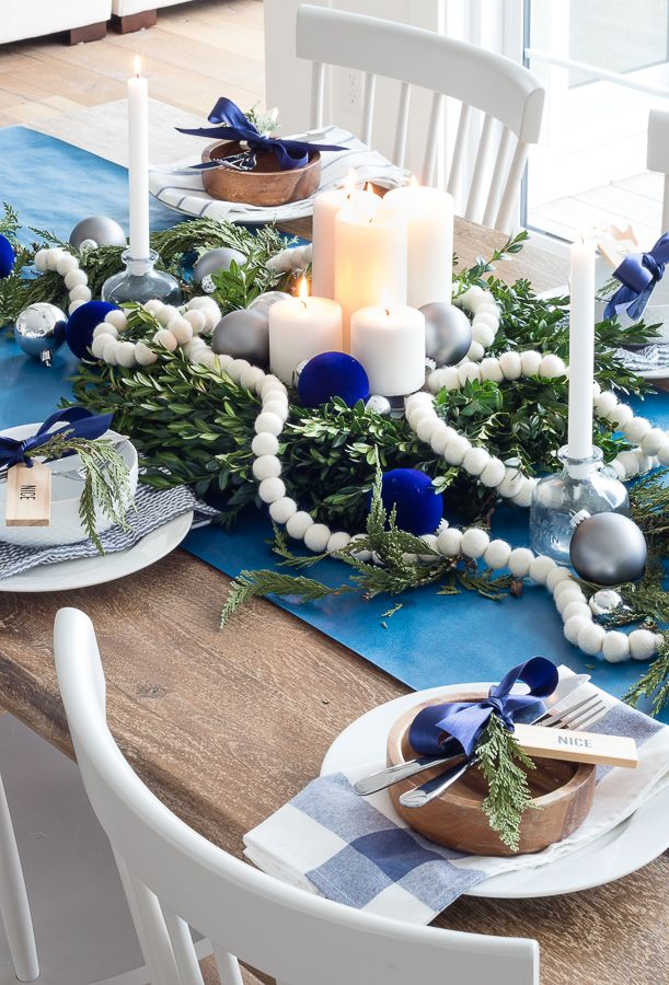 Navy Christmas Tablescape Blue Christmas Tree Decorations Holiday Tablescapes Diy Christmas Table