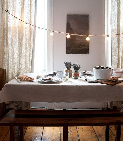 I love this. I pinned something like this ages ago that featured a similar idea but wasn't executed as well. This is amazing and I want a giant dining table and a house to go with it so I can create such a lovely space.