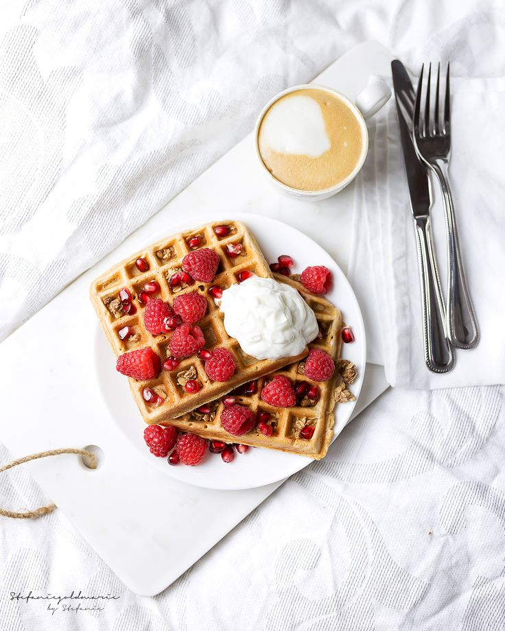 waffles with , fresh berries, pomegranates and a little more Greek yogurt and granola