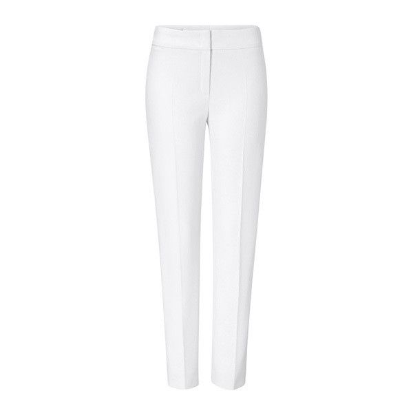 ESCADA Pants Tina ($795) ❤ liked on Polyvore featuring pants, zip pants, white crop pants, high waisted white trousers, high waisted cropped pants and pleated pants