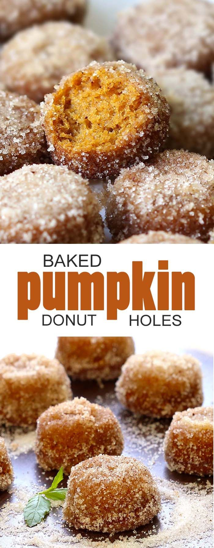Baked Pumpkin Donut Holes Here is a fun & easy recipe for baked, not fried ( so you can eat more.. Serves: 30 Prep time 20 mins Cook time 12 mins Total time 32 mins