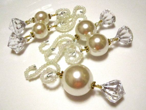 5 Huge Pearl Diamond Dangle Christmas Ornaments in Cream and Gold