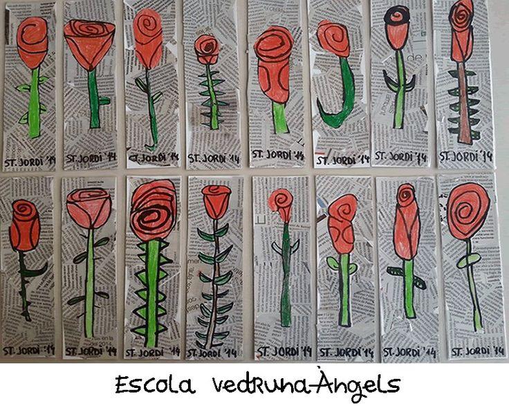 Punt de llibre amb rosa de sant Jordi realitzat per alumnes de P-5 de l'escola Vedruna - Àngels (Barcelona)