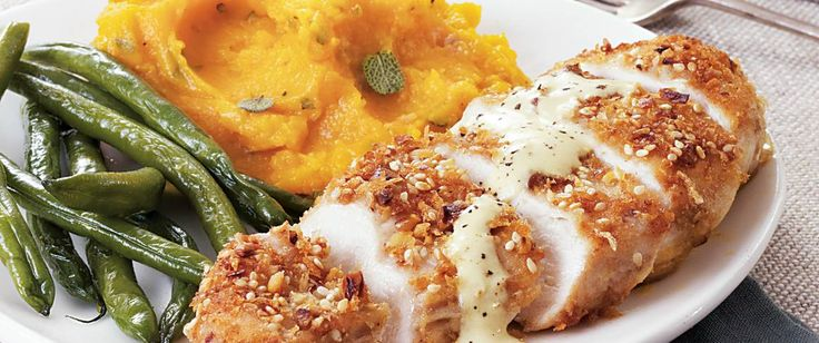 Chicken coated with Progresso® bread crumbs, Gold Medal® all-purpose flour and walnuts gives you a delicious skillet dinner – served with Dijon cream sauce.